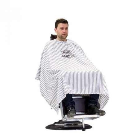 WAHL Barber Cape - Peignoir Barbier Rayé blanc et noir