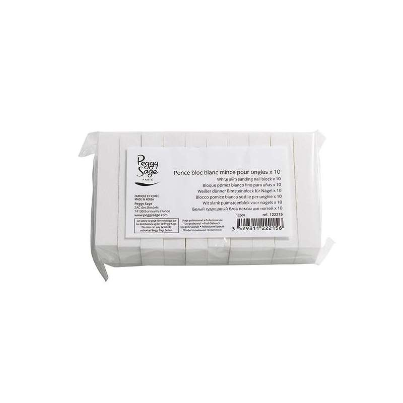 Bloc Ponce Slim pour ongles Blanc x 10 - Peggy Sage