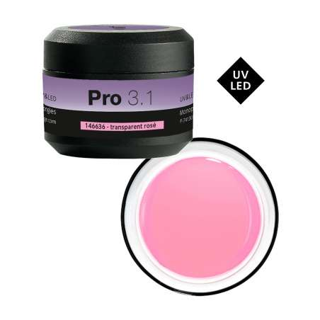Pro 3.1 Gel UV&LED de construction transparent rosé 15G